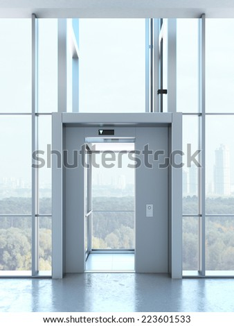 Transparent elevator in penthouse - stock photo