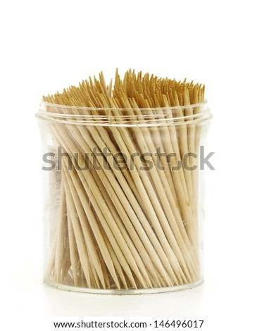 transparent flask with toothpicks - stock photo