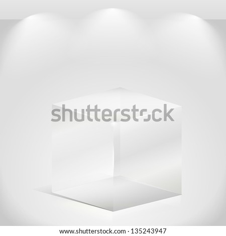 Transparent glass cube - stock photo