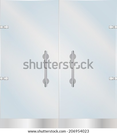 Transparent Glass door with steel handles, illustration - stock photo