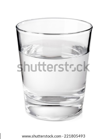 Transparent glass with clean mineral water isolated on white background - stock photo
