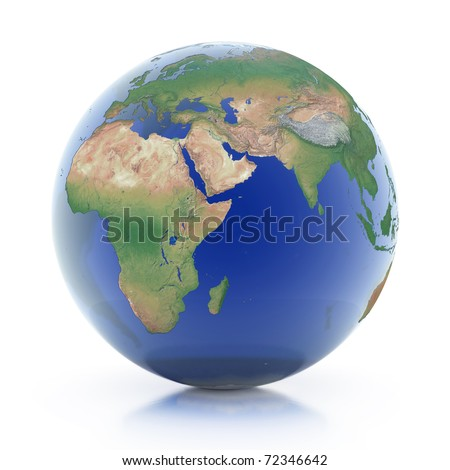 transparent globe 3d illustration - planet earth isolated over white background - stock photo