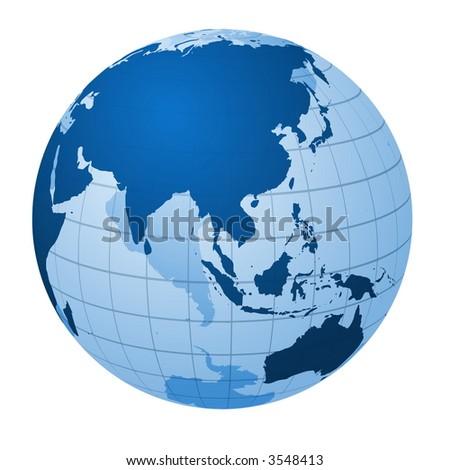 Transparent globe focused on Asia - stock photo