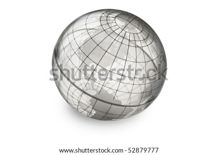 Transparent globe showing North and South America. - stock photo