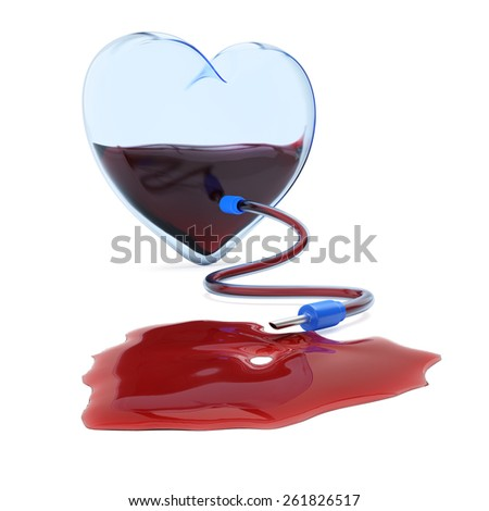 Transparent heart with dropper. Blood donation concept. 3d render - stock photo