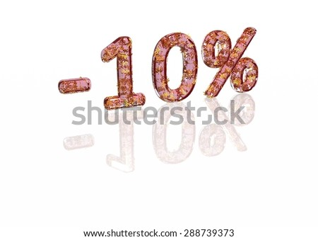 Transparent inscription minus 10 percent with a set of gold signs of percent in it - stock photo