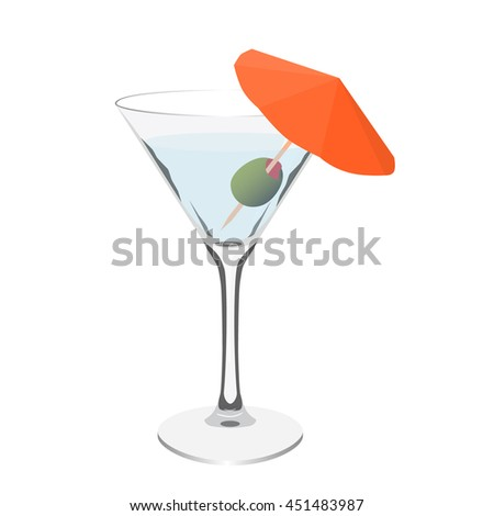 transparent martini glass cocktail realistic isolated raster illustration - stock photo