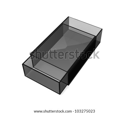 Transparent matchbox on white background - stock photo
