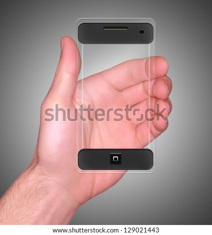Transparent Mobile Smart Phone in man's Hand new Digital Technology concept - stock photo