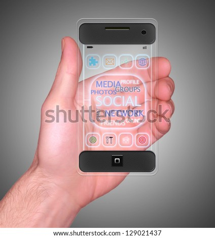 Transparent Mobile Smart Phone in man's Hand Social Media communication device new Digital - stock photo