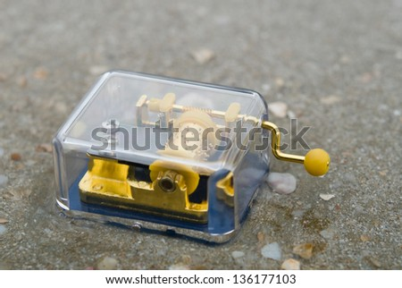 Transparent music box and sea - stock photo