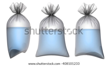 Transparent plastic bag with water. 3d illustration set. Isolated on white - stock photo