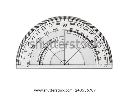 Transparent protractor isolated on white - stock photo