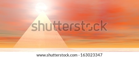 Transparent pyramid made with glass in front of sunset - stock photo