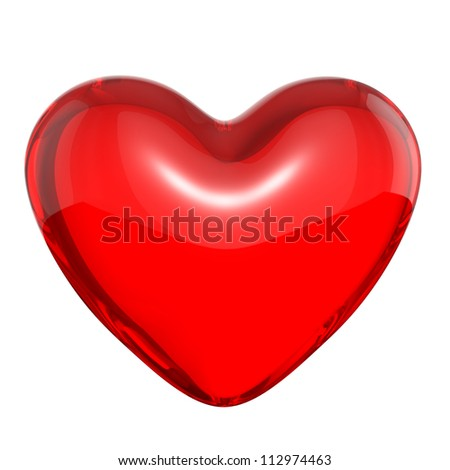 Transparent red candy heart, isolated on white background - stock photo