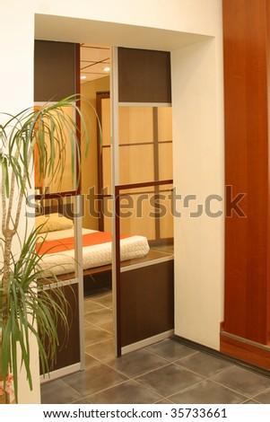 transparent sliding door - stock photo