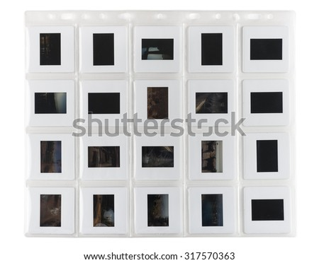 transparent slipcase for photo slide on white background - stock photo