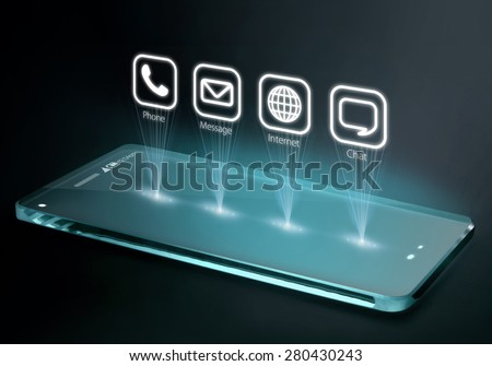 Transparent smartphone with apps on three dimensional screen. 3D phone is a mobile phone that conveys depth perception to the viewer by employing stereoscopy or any other form of 3D depth techniques.  - stock photo