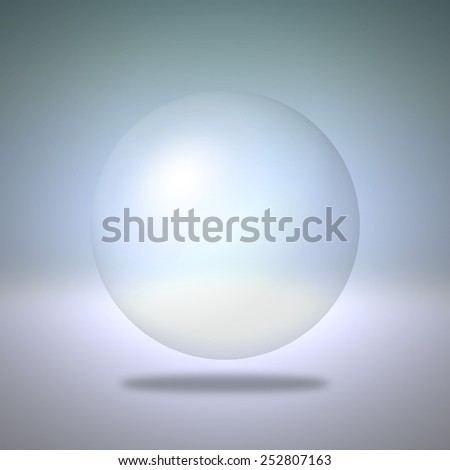 Transparent sphere on blue background - stock photo