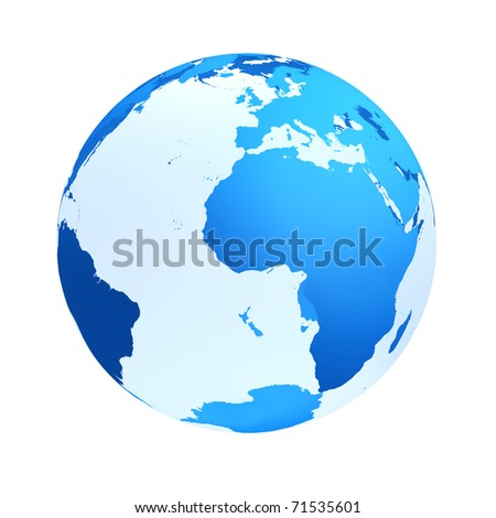 transparent the globe blue color.An earth breadboard model. It is isolated on a white background - stock photo