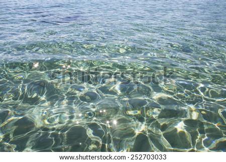 Transparent water at the  Mediterranean sea. - stock photo