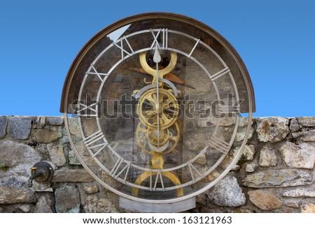 Transparent Water Clock in Pesariis, Italy - stock photo