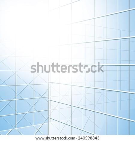 transparent windows - blue facade - stock photo