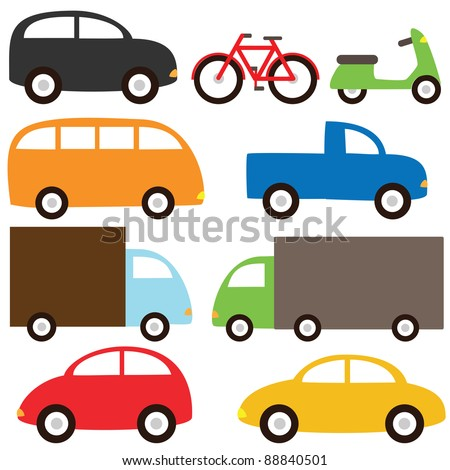 Transport set - cartoon cars, lorry, truck, bicycle, bus and motorcycle. Raster version. - stock photo