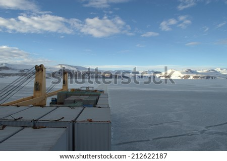 transport ship and in the sea of Antarctic - stock photo