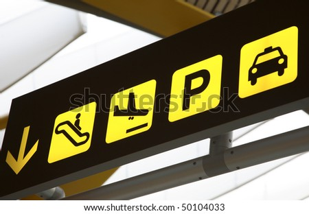 Transport Sign in Airport - stock photo