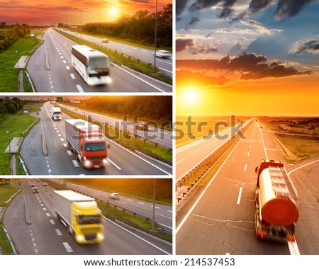 Transportation collage concept.Truck and bus on highway at sunset - stock photo