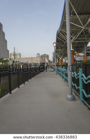 Transportation hub facility/Orlando Transit Center/Buses and trains leaving for morning commute. - stock photo