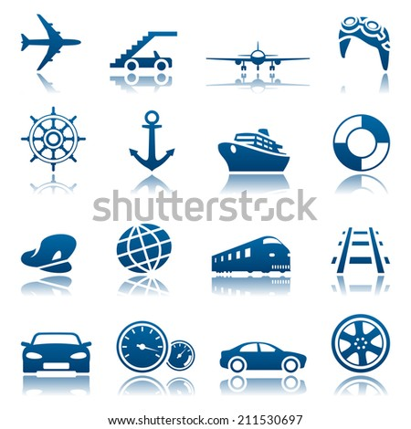 Transportation icon set - stock photo