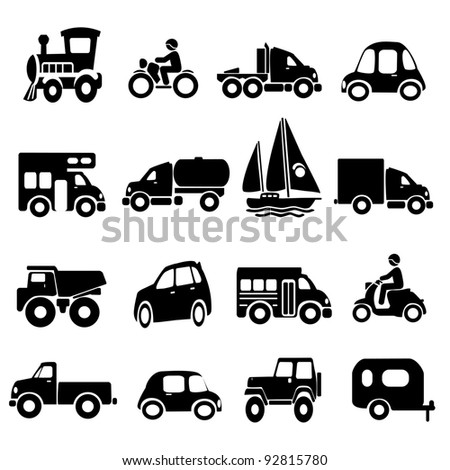 Transportation Icon Set - stock photo