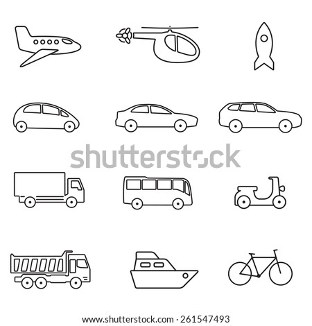 Transportation icon set with outline illustration of car, airplane, bike, ship, bus, helicopter, rocket and airplane. - stock photo