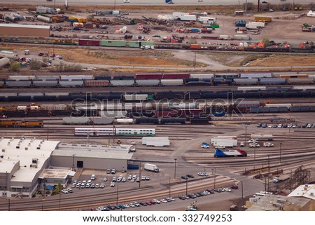 Transportation near Salt Lake city oil refineries - stock photo