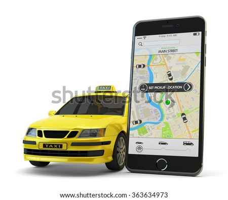 Transportation network app, calling a cab by mobile phone concept, modern smartphone with application for online taxi service order on screen and yellow car with taxi sign isolated on white - stock photo
