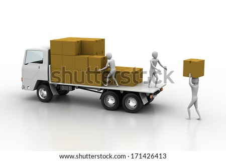 Transportation trucks in freight delivery - stock photo