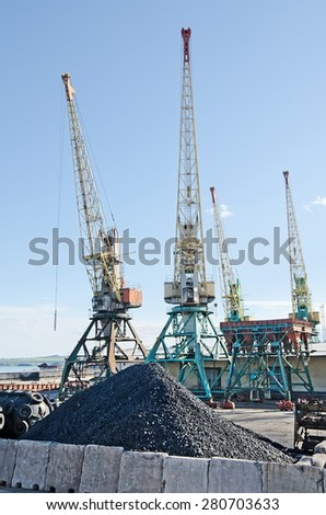 Transshipment port crane in the port of Kerch - stock photo