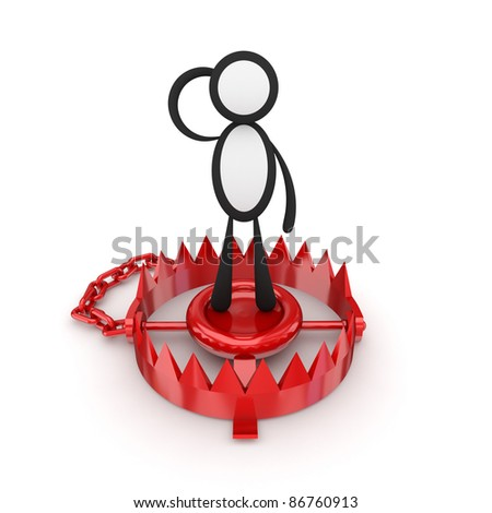Trap concept.Isolated on white background.3d rendered. - stock photo