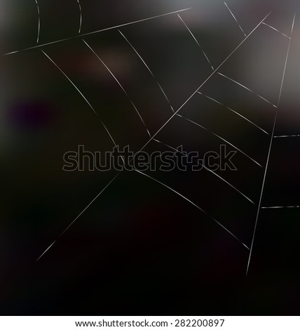 Trap spider web on dark background for design web or nature concept - raster - stock photo