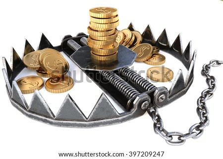 trap with gold coins. isolated on white background. - stock photo