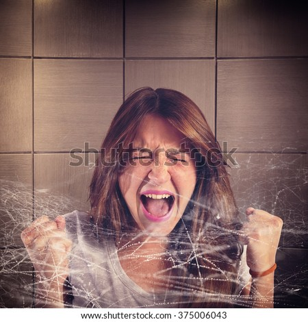Trapped girl screaming - stock photo
