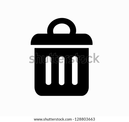 Trash bin icon - stock photo