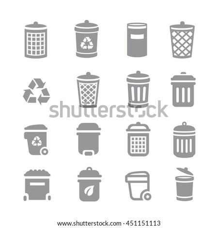 Trash can and recycle bin icons. Garbage, rubbish,  - stock photo