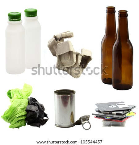 Trash can be recycled on white background - stock photo