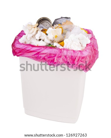Trash can filled with rubbish and garbage, isolated with clipping path - stock photo