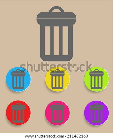 Trash can icon with color variations - stock photo