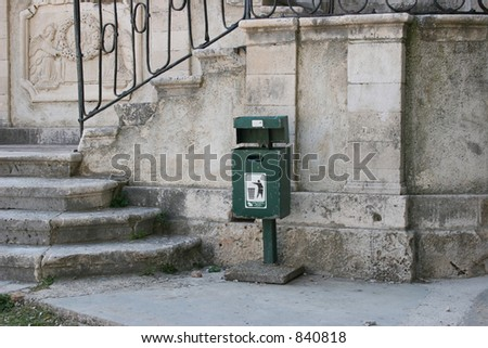 Trash can in Dubrovnik, Croatia. - stock photo