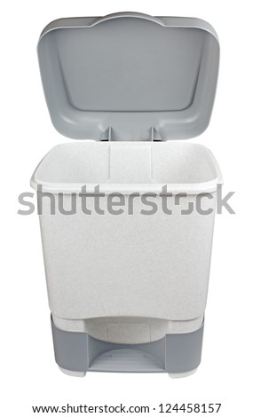 trash can with lid isolated on white background - stock photo